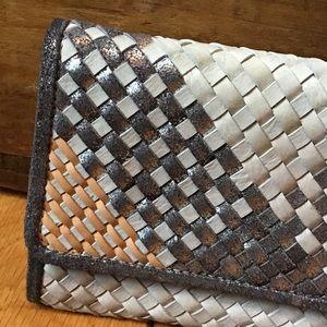 Anthropologie Bags - Anthro Jasper & Jeera Leather Woven Clutch Wallet